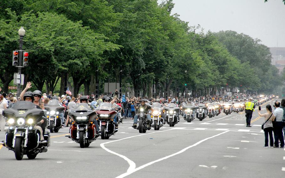 Motorcyclists make their way up Constitution Avenue in Washington on Sunday, May 28, 2017, during the 30th anniversary of Rolling Thunder.