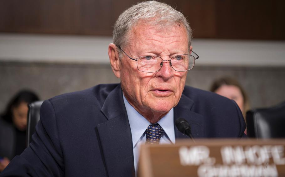 """Senate Armed Services Committee Chairman Sen. Jim Inhofe, R-Okla., attends a hearing on May 2, 2019. Members of the committee on Thursday, May 23, advanced the first draft of defense policy package. The next National Defense Authorization Act, said Inhofe, """"provides for $750 billion for national security, providing the resources our military needs to maintain our superiority."""""""