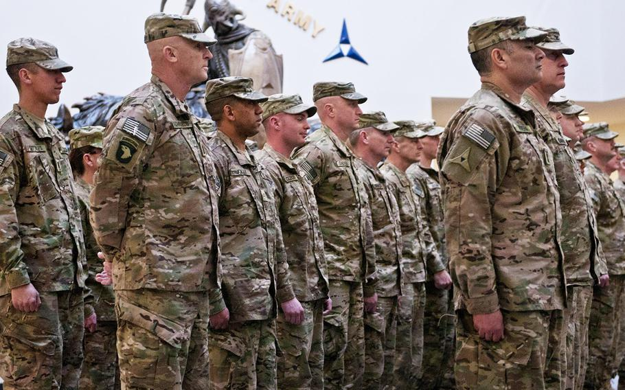 In a February, 2014 file photo, members of Headquarters and Headquarters Company, III Corps, wait to be released by III Corps and Fort Hood Commanding General Lt. Gen. Mark Milley, during their welcome home ceremony from a nine-month deployment to Afghanistan.
