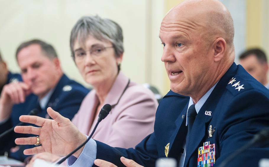 Gen. John Raymond, commander of the Air Force Space Command, testifies on May 17, 2017, during a Senate Armed Services subcommittee hearing on the U.S. military's space organization, policy and programs. Looking on are Secretary of the Air Force Heather Wilson and Air Force Chief of Staff Gen. David Goldfein.