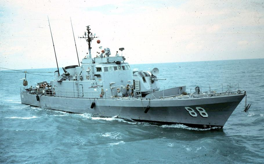 USS Crockett in South Vietnamese waters in 1968. The Crockett is one of the ships whose crew are eligible for benefits under the assumption of Agent Orange exposure.