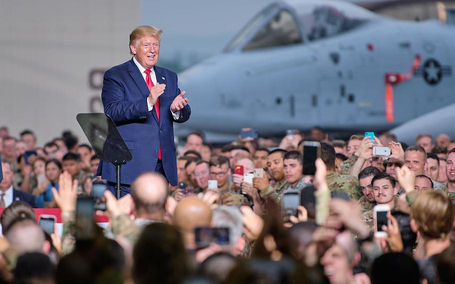 President Donald Trump thanked servicemembers and families for their continued support and dedication to the mission during his speech on Osan Air Base, South Korea, Sunday, June 30, 2019.