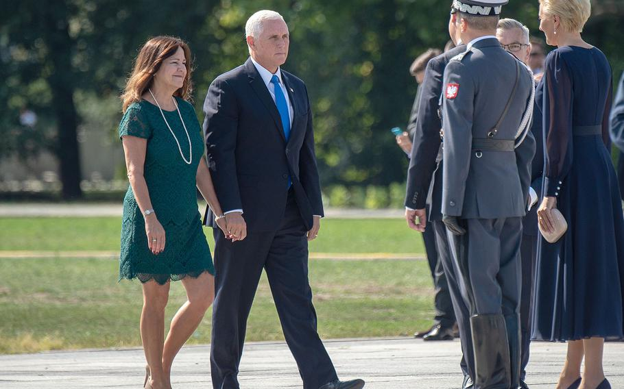 Vice President Mike Pence and wife Karen arrive at a ceremony honoring the 80th anniversary of the start of World War II in Warsaw, Poland, Sunday, Sept. 1, 2019