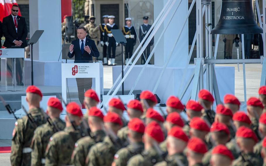 Poland President Andrzej Duda speaks during a ceremony honoring the 80th anniversary of the start of World War II in Warsaw, Poland, Sunday, Sept. 1, 2019