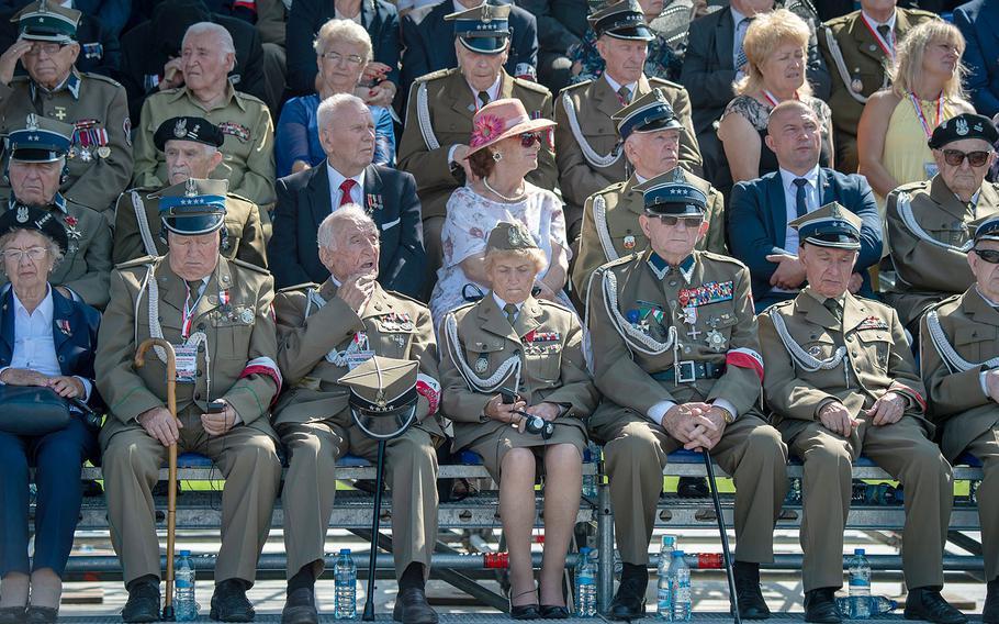 Polish World War II veterans listen to Poland President Andrzej Duda speak during the 80th anniversary of the start of World War II in Warsaw, Poland, Sunday, Sept. 1, 2019