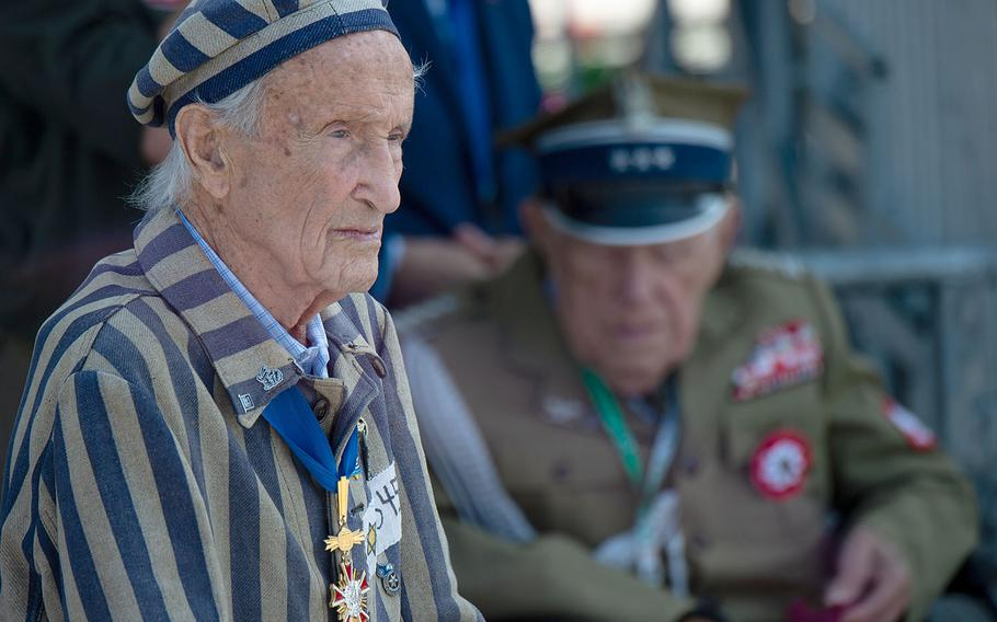 Holocaust survivor Edward Mosberg attends a ceremony honoring the 80th anniversary of the start of World War II in Warsaw, Poland, Sunday, Sept. 1, 2019
