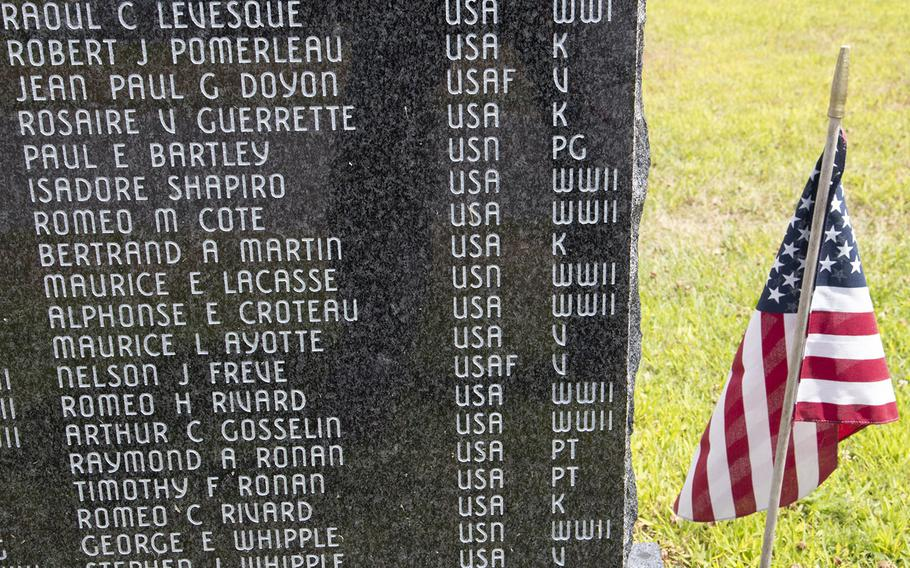 One of the stones listing local veterans at the Veterans Memorial Park in Lewiston, Maine, in August, 2019.