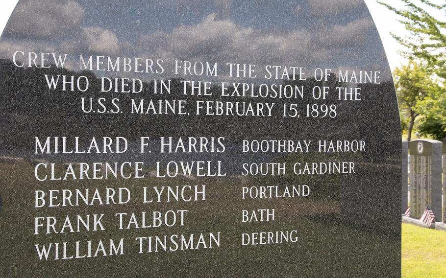The back of the USS Maine stone at the Veterans Memorial Park in Lewiston, Maine, lists Mainers who died in the sinking that sparked the Spanish-American War.