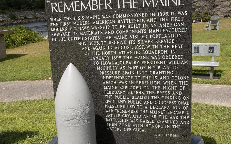 A memorial to the USS Maine at Veterans Memorial Park in Lewiston, Maine, features a 498-lb. projectile for the ship's 10-inch guns that was recovered from Havana Harbor 14 years after the ship's sinking and presented to the city in 1912.