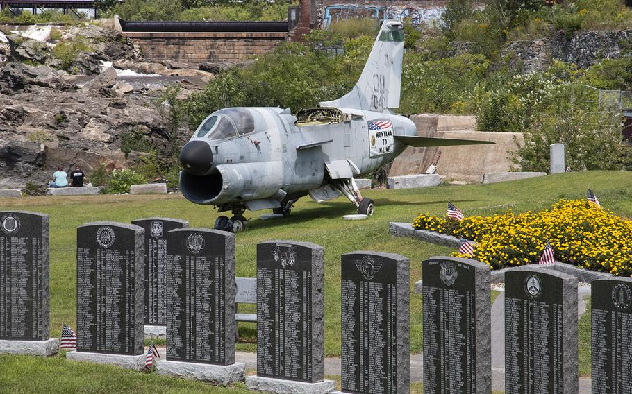 An A-7D Corsair attack aircraft, last flown in Panama in 1991, is the centerpiece of the Veterans Memorial Park in Lewiston, Maine.