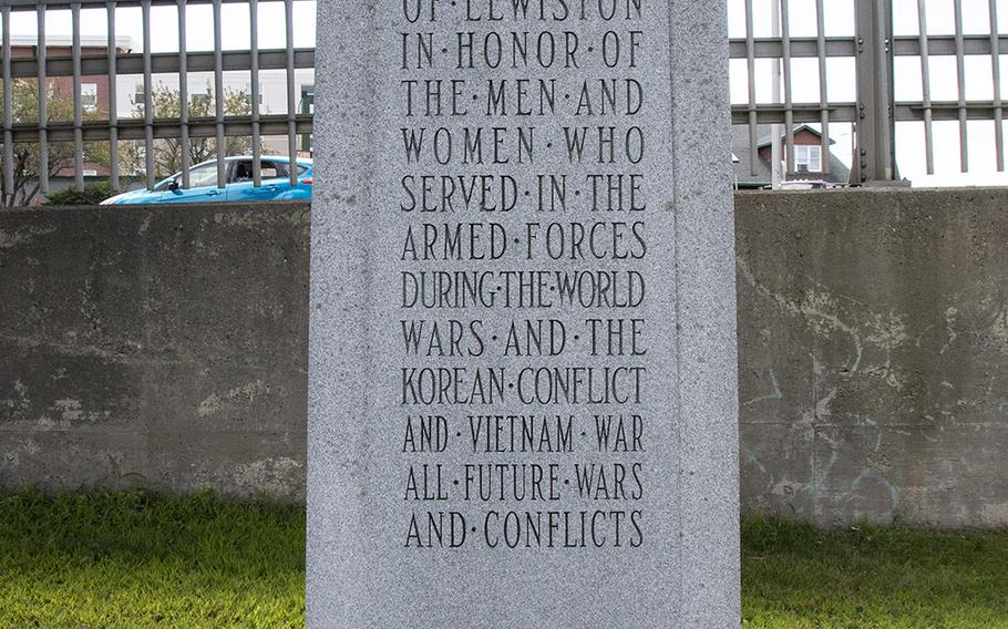A monument at the Veterans Memorial Park in Lewiston, Maine, in August, 2019.