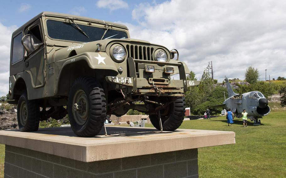 A Jeep, presented by local residents Dolard and Priscilla Gendron, is among the military items on display at Veterans Memorial Park in Lewiston, Maine, in August, 2019.
