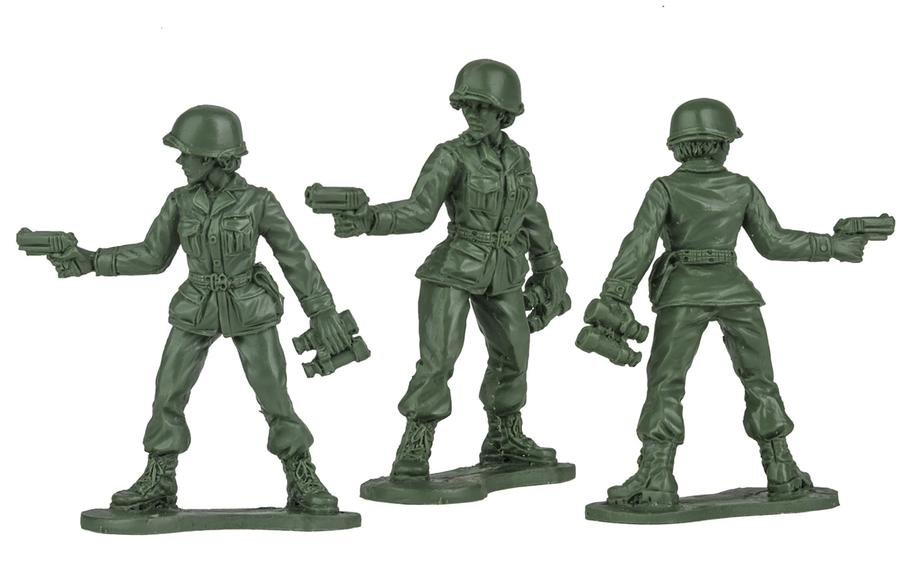 Green plastic Army women figurines will be out by Christmas 2020.
