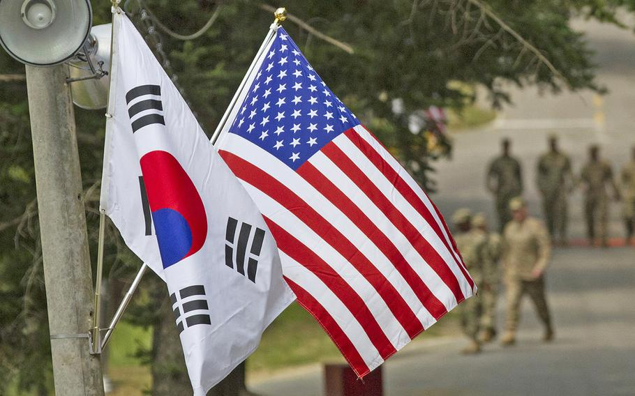 South Koreans working for the U.S. military received a one-month notice Friday, Feb. 28, 2020, that they will be put on unpaid leave if the allies do not come to a defense cost-sharing agreement.
