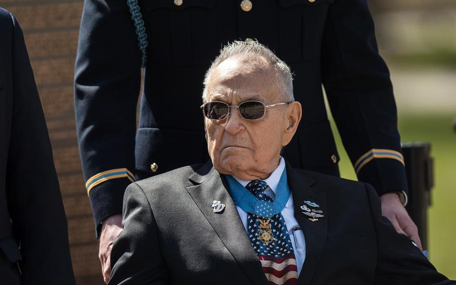 Medal of Honor recipient Ronald Rosser arrives for a wreath laying ceremony at Arlington National Cemetery's Tomb of the Unknowns on Friday, March 23, 2018. Rosser was among more than two dozen MOH recipients who attended the commemorative event, which was part of the annual National Medal of Honor Day.