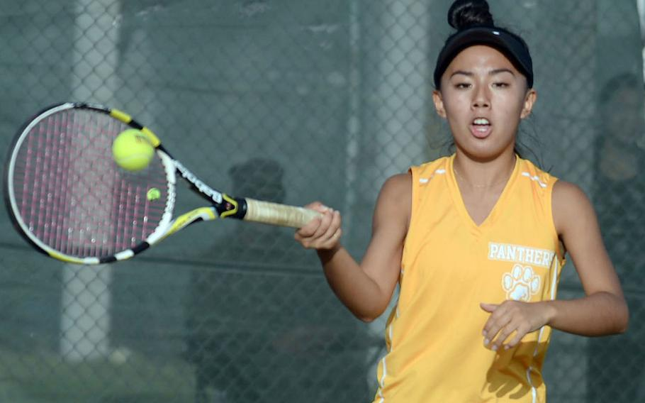 Kadena senior Noelle Asato, the Panthers' No. 1 girls seed, begins the battle for Okinawa district singles tennis honors Friday on the Panthers' home courts, then again Monday and Wednesday at Kubasaki.