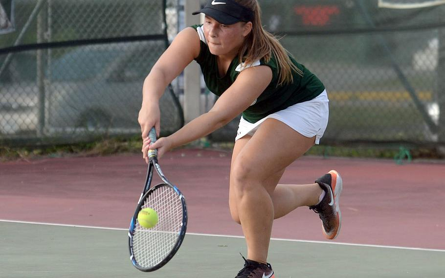 Kubasaki senior Willow Lewis, the Dragons' No. 1 girls seed, begins the battle for Okinawa district singles tennis honors Friday at Kadena, then again Monday and Wednesday on the Dragons' home courts.