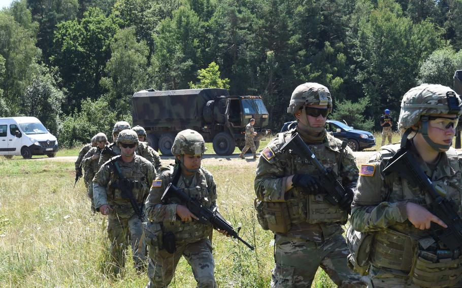 Soldiers from across U.S. Army Europe participate in the Best Warrior Competition in Hohenfels, Germany, on July 27, 2020. The weeklong event tests skills, endurance and fortitude.
