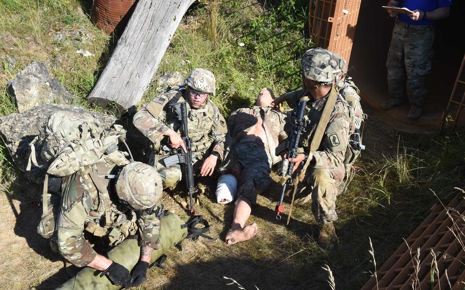 Soldiers from across U.S. Army Europe participate in a medical evacuation exercise on July 28, 2020, during the Best Warrior Competition in Hohenfels, Germany.