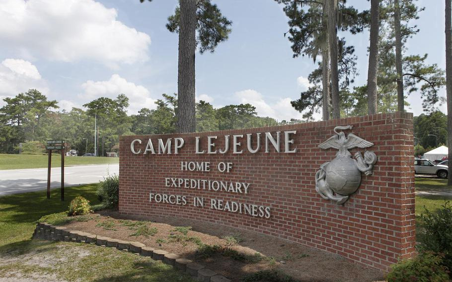 The entrance to Camp Lejeune is show in this undated file photo.
