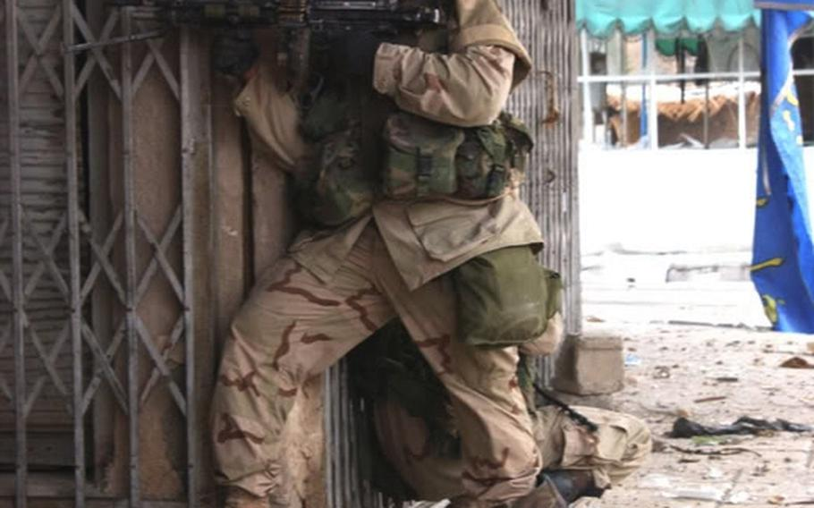 Army Spc. Jose Velez in Fallujah, Iraq, days before he was killed in November 2004.