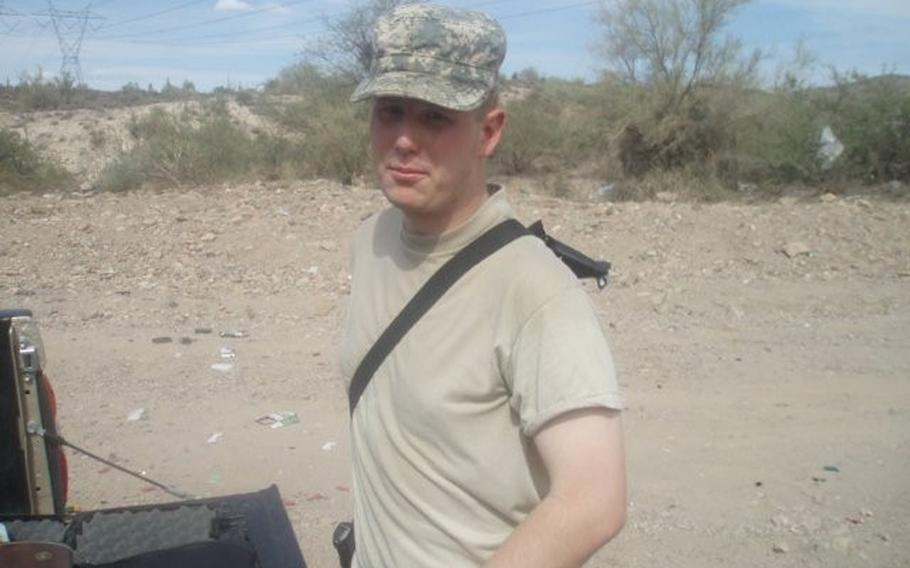 Jonathan often wore his uniform at home in Phoenix when he went to the desert to go shooting with his siblings.