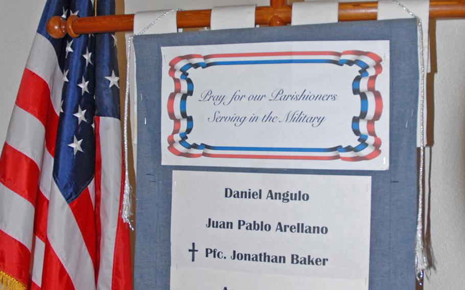 At St. Louis the King Catholic Church in Phoenix, where Jeanette and John Baker are parishoners, a small cross has been added next to Jonathan's name on the list of locals serving in the military.