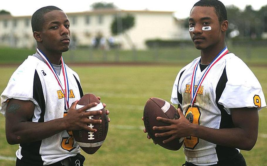 Kadena Panthers senior running-back tandem of Shariff Coleman and Thomas McDonald, were known as Speed Inc. Coleman led the Pacific with 1,148 yards and scored 14 touchdowns on 110 carries, while McDonald led the team with 19 touchdowns and had 1,033 yards on 99 carries this season. The two have combined for 4,018 yards and 69 carries the last two seasons for two-time defending Far East Division I champion Kadena.