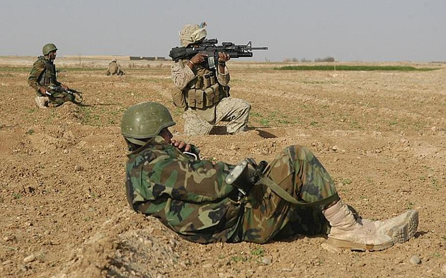 Cpl. Anthony Conner of the 3rd Battalion, 10th Marine Regiment scans the horizon for enemy fighters during a patrol in Helmand province last month while an Afghan National Army soldier gets a little rest. 'It's like baby-sitting sometimes,' said Conner of the ANA members with whom he conducts joint patrols.