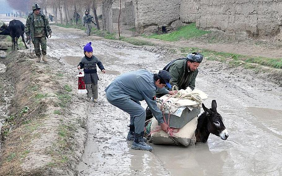 Afghan National Police officers help rescue an overloaded donkey during a joint patrol with U.S. and Italian forces through Bala Murghab on Feb. 21.  Coalition and Afghan forces gained control of a small slice of the valley during a series of battles with insurgents since November.