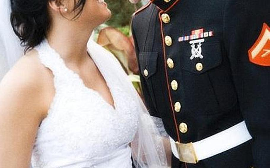 Katie Wade with her husband, Marine Cpl. Chad Wade, who was killed in Afghanistan on Dec. 1, when he stepped on a roadside bomb during a foot patrol. Katie blogs about coping with his loss.