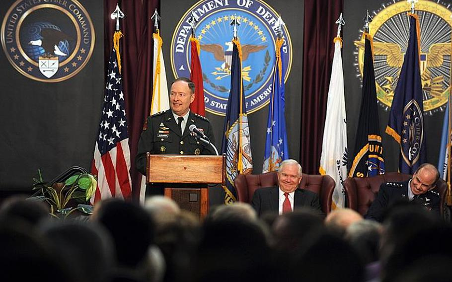 U.S. Army Gen. Keith Alexander, commander of U.S. Cyber Command, speaks during the command´s activation ceremony at Fort Meade, Md., May 21, 2010.