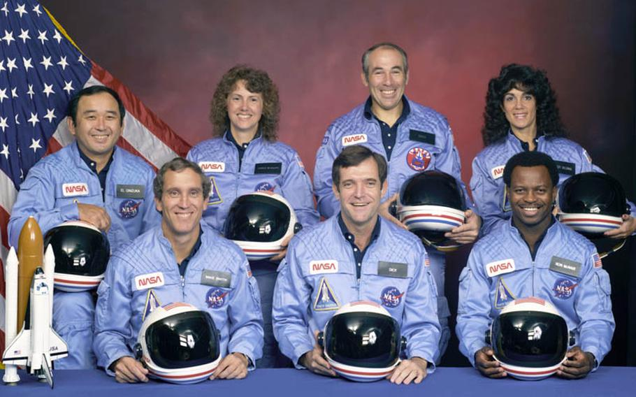 Seven people aboard the Challenger were lost on the morning of January 28, 1986, when a booster engine failed, causing the shuttle to break apart just 73 seconds after launch. The crew: Front row from left, Mike Smith, Dick Scobee, Ron McNair. Back row from left, Ellison Onizuka, Christa McAuliffe, Greg Jarvis, Judith Resnik.