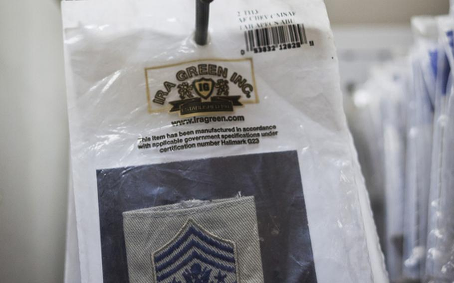 More than 20 cold weather GORE-TEX jacket patches for the Chief Master Sergeant of the Air Force are for sale at a Post Exchange at Victory Base Complex outside Baghdad, Iraq. Because you never know.