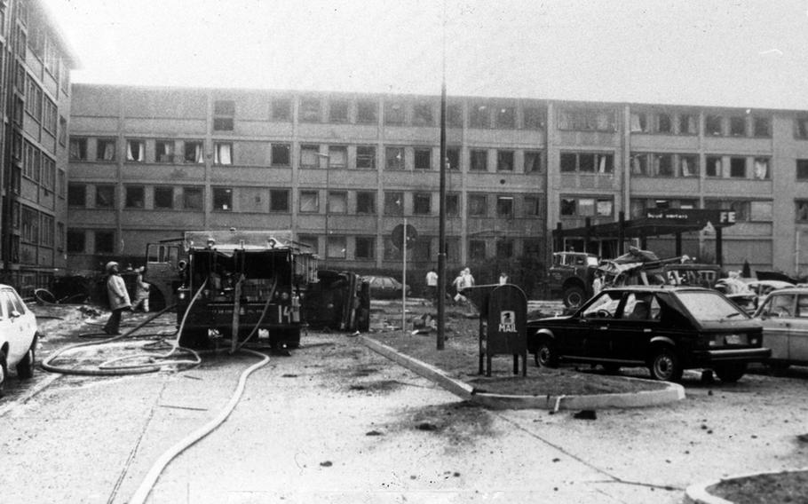A photo from the U.S. Air Forces in Europe historian's office shows some of the damage from a massive car bomb that exploded Aug. 31, 1981, in the parking lot outside the USAFE headquarters building on Ramstein Air Base, Germany. Twelve U.S. military members and two German civilians were injured. The German terrorist group, the Red Army Faction, later claimed responsibility for the attack. The incident prompted much stricter security measures, including pop-up barriers and a permanent security ring around the headquarters, according to information from USAFE.