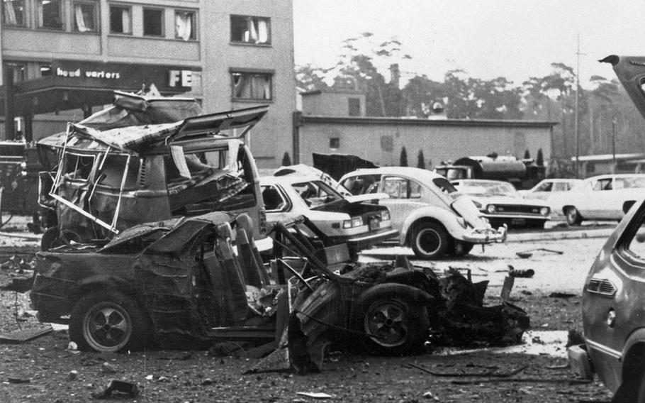 A photo from the U.S. Air Forces in Europe historian's office shows some of the damage from a massive car bomb that exploded Aug. 31, 1981, in the parking lot outside the USAFE headquarters building on Ramstein Air Base, Germany. Twelve U.S. military members and two German civilians were injured. The German terrorist group, the Red Army Faction, later claimed responsibility for the attack. The incident prompted a number of security changes, including pop-up barriers and a permanent security ring around the headquarters, according to information from USAFE.
