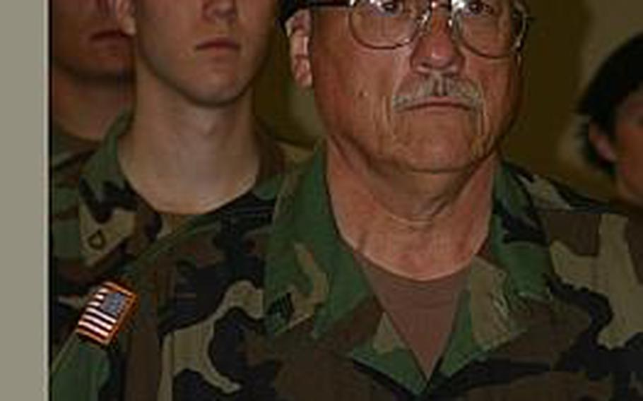 Sgt. Mathew Niblack during his mobilization ceremony in August 2005.