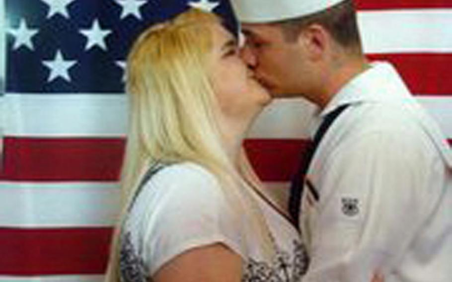 Seaman Recruit Curtis Phillips and his wife Ashley Payne have been together for just shy of four years, yet Payne is not allowed to live with her husband in Japan as ordered by U.S. Naval Forces Japan in a directive that does not provide command sponsorship for the spouses of lower ranking - and usually younger - enlisted sailors.