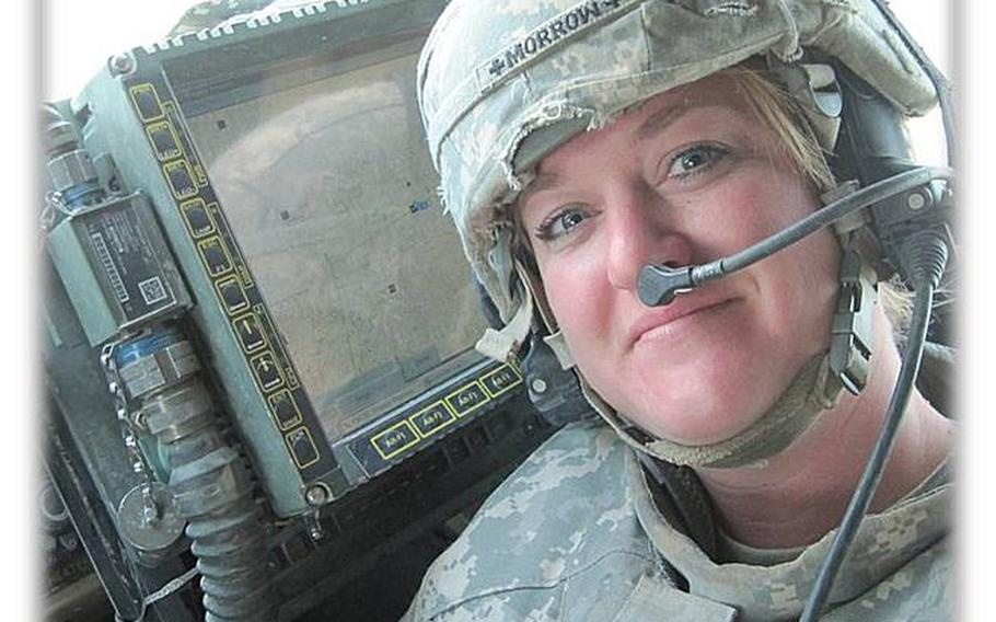 """Army Sgt. Angel Morrow, dubbed """"Momma Medic"""" for caring for troops during multiple deployments to Afghanistan as a combat medic, suffered from PTSD as a result. Medication and counseling didn't seem to work, and she was spiraling out of control until she picked up a therapy dog at an animal shelter. The dog got Morrow out of the house for walks and was there with the positive support of a wet nose and wagging tail, allowing Morrow to return to active duty earlier this year. Therapy animals are just one of the many ways veterans have been seeking treatment for PTSD and TBI through alternative or integrative approaches in recent years. There have been mixed results but some of the treatments have been successful enough that the VA has begun to take notice and has started to build treatment plans using some of the methods. Morrow while on a mission in Afghanistan."""