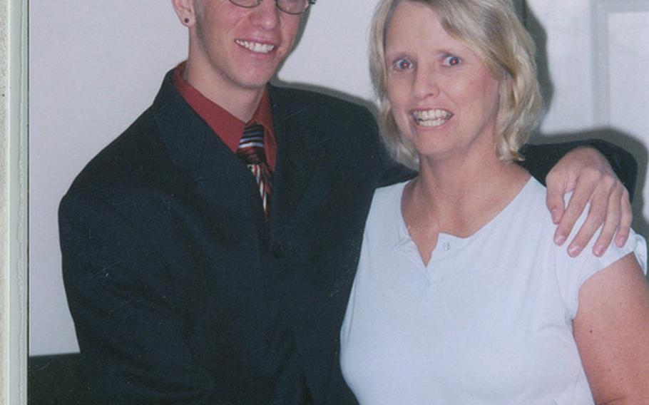 Deven Schei, who was in high school at the time, poses for a photo with his mom, Christine Schei. It was around this time that Deven made a promise to his soldier brother, Erik Schei, that he would join the Army if anything happened to Erik.