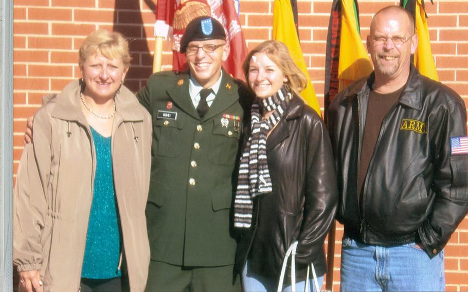 Deven Schei with his girlfriend and his father at Fort Campbell, Ky., before he deployed to Afghanistan in 2010. He was hit with three rocket propelled grenades three weeks into his deployment.