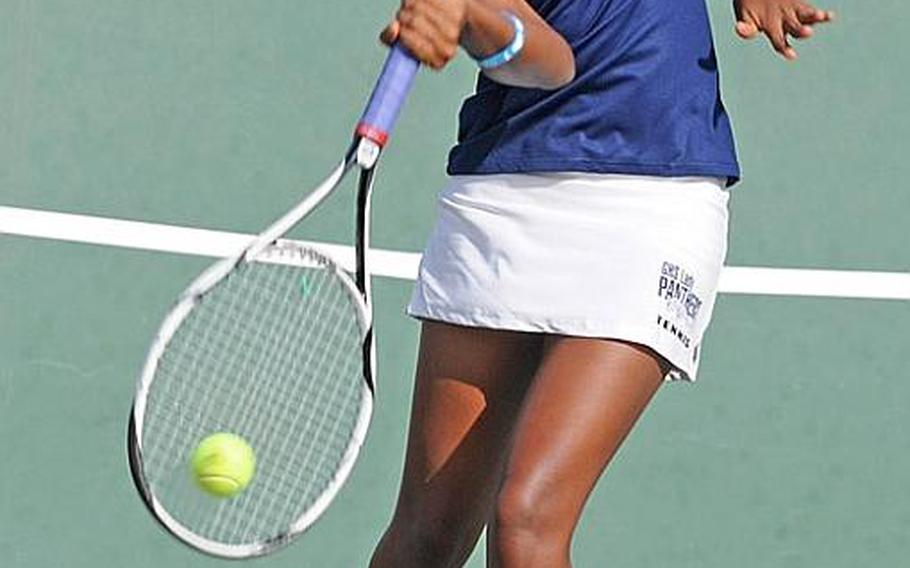 Defending champion Chloe Gadsden of Guam High Panthers smacks a forehand against Alicia Tiffany of Seisen international Phoenix during Tuesday's girls second-round singles match in the Far East High School Tennis Tournament at Risner Tennis Complex, Kadena Air Base, Okinawa. Gadsden won 8-0 and by the same score in the quarterfinal against Zama American's Keri Prather.