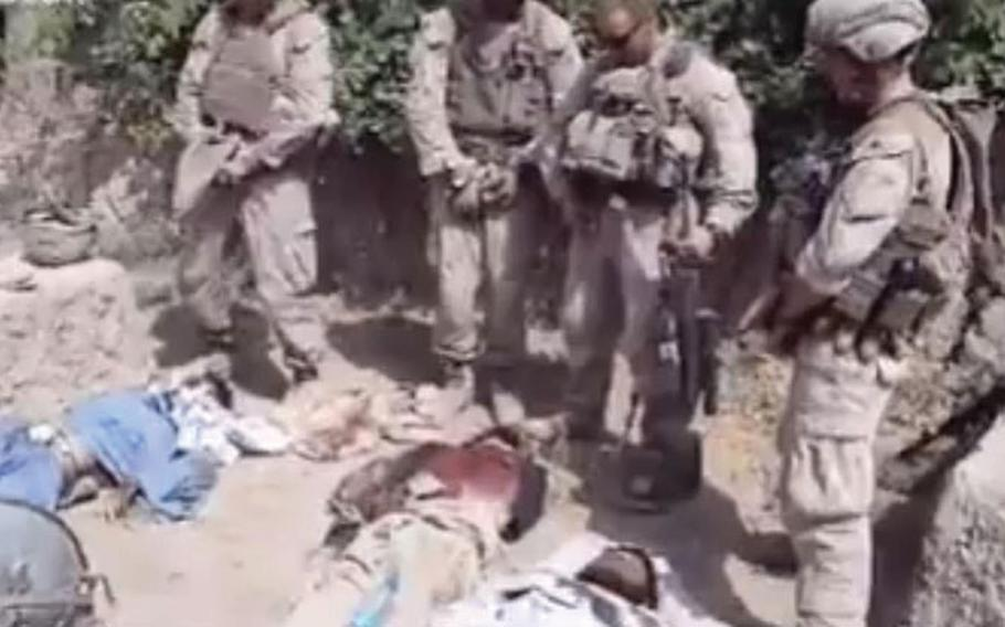 A video posted on YouTube purports to show U.S. Marines urinating on the corpses of Taliban fighters. A Corps spokesman said the matter is under investigation.