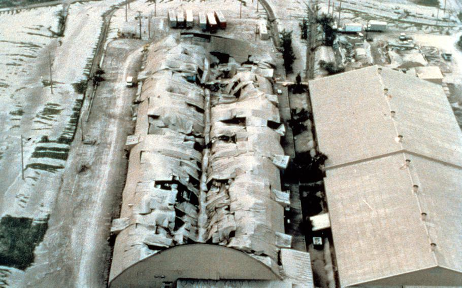Mount Pinatubo, Philippines. Aerial view of collapsed warehouse, Clark Air Base.