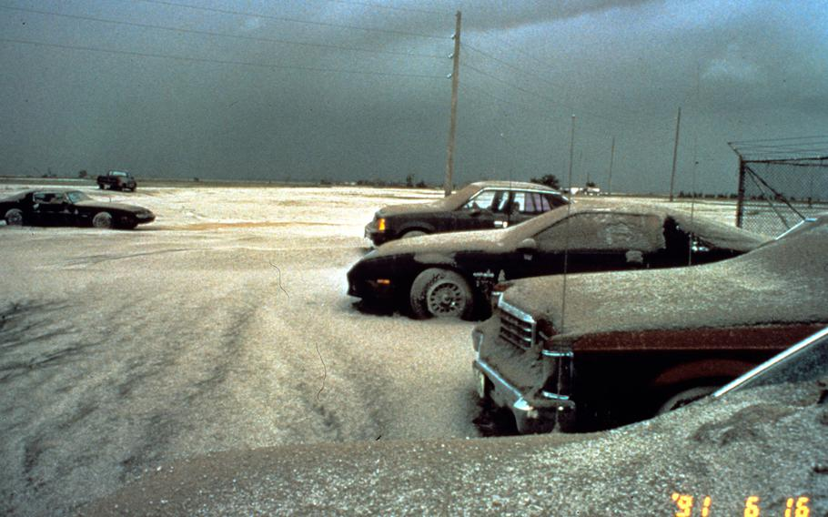 Mount Pinatubo, Philippines, June 16, 1991. View of ash from June 15 eruption on automobiles at Clark Air Base.
