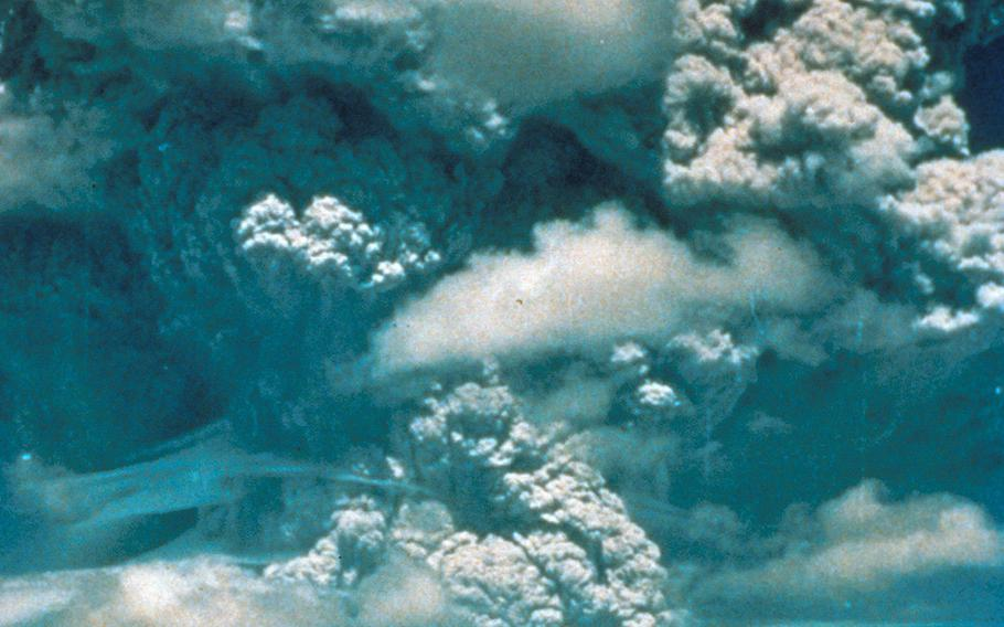 Mount Pinatubo, Philippines, June 1991. First major eruption of Mount Pinatubo, viewed from Clark Air Force Base.