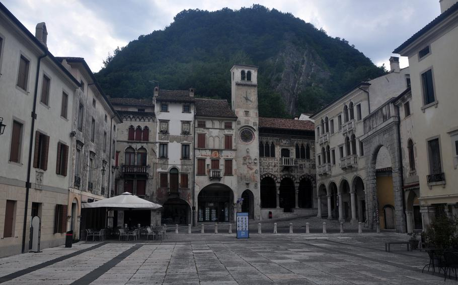 Piazza Falminio is the heart of the oldest part of Serravalle, one of two communities that make up Vittorio Veneto in northeastern Italy. The most prominent building, the Loggia Serravallese in the upper right, dates back to at least the 15th Century and currently houses the Museo Del Cenedese.