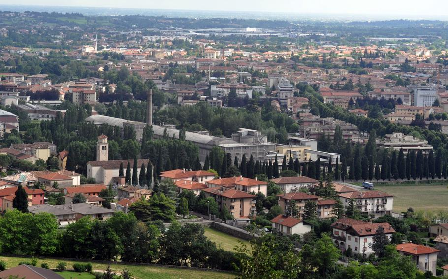 Vittorio Veneto, which sits at the foot of the Dolomite mountain chain, is heavily urbanized. But it's not that difficult to climb up a small mountain for fine views.