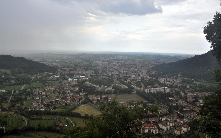 It's possible to see for from the porch of the Santuario di Santa Augusta, which overlooks the community of Vittorio Veneto in northern Italy - even on stormy days. You'll have to spend some energy getting there, though, climbing up a winding path to the top.