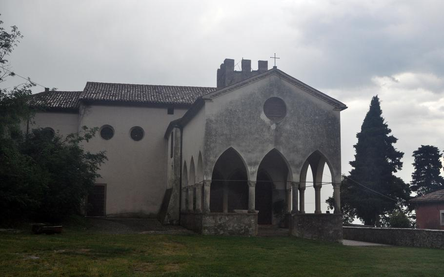 The Santuario di Santa Augusta doesn't look like much from the outside. But it offers fine views of the Vittorio Veneto area.